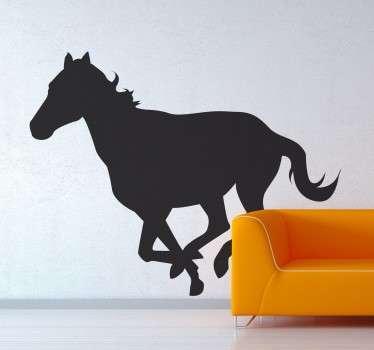 Vinilo decorativo silueta caballo trotando