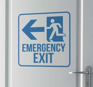 A very useful emergency exit decal to place anywhere where everyone has to follow the fire & emergency procedures. Ideal as a business sticker to keep everyone safe.