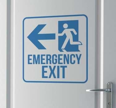 Emergency Exit Monochrome Sign Sticker