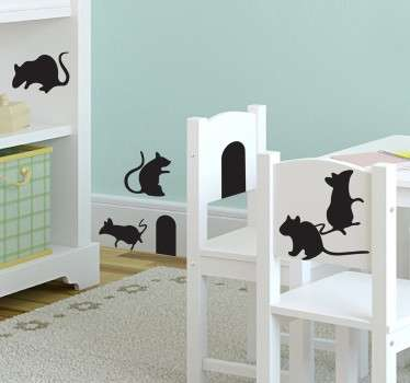 Animal wall decal with the silhouette of several mice. A fun sticker that children are sure to love in their bedrooms .
