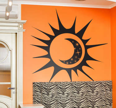 An illustration of the sun, moon and stars interlocked with each other. A brilliant design from our collection of star wall stickers. Decorate your home with this cool decal that will give your place a fresh and new atmosphere.