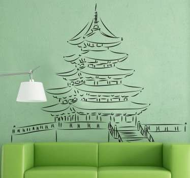 Wall decal with a detailed drawing of a Pagoda; a traditional Japanese style of building.