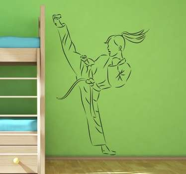 Tyttö karate potkia tarra