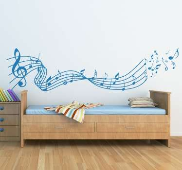 Original sticker designed for music enthusiasts, with a range of musical notes that fly over the melody.