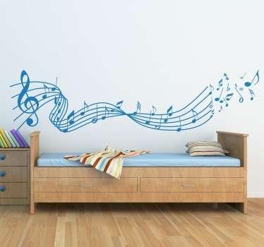 Autocolante de parede notas musicais voadoras