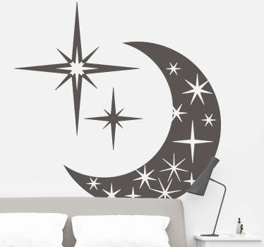 A superb illustration of a moon and sparkling stars from our collection of star wall stickers to decorate any space at home.