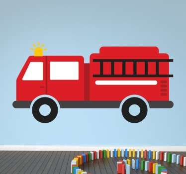 Kids fire engine sticker designed to give some colour and decoration to your children's bedrooms. Create a fun and playful atmosphere! I