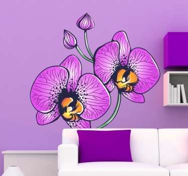 Orchidee paarse bloemen sticker