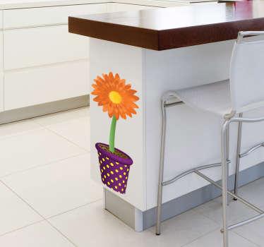 Adesivo decorativo vasetto con girasole arancia