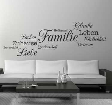 Dekoratives Wandtattoo über die Familie. Gestalten Sie das Wohnzimmer und zeigen so das Ihnen die Familie sehr wichtig ist.