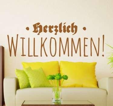 Herzlich Willkommen Sticker für Ihr Zuhause. Platzieren Sie den Aufkleber im Eingangsbereich und begrüßen so Ihre Gäste.