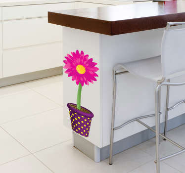 Naklejka różowy kwiat w doniczce