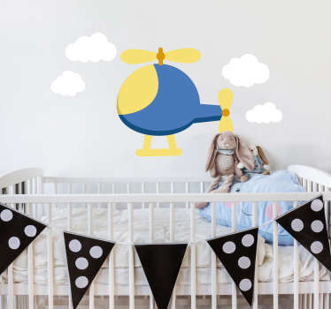 Decorative sticker of a helicopter for your children. Make their room look colourful and full of toys with this fantastic decal!