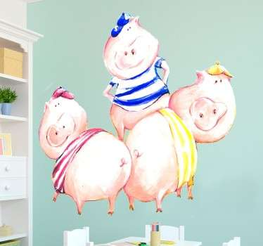Exclusive sticker with a representation of the three little pigs from the famous tale. Kids wall decal with an original illustration from Lol Malone.