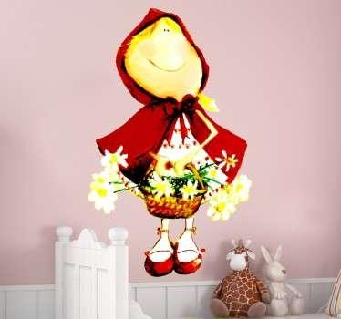 Vinilo infantil Caperucita cesta flores