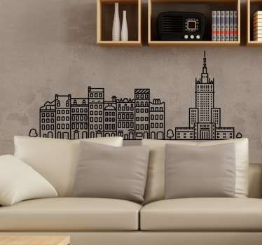 A magnificent city skyline wall sticker  of Warsaw city. It is available in any required size and it application is easy.