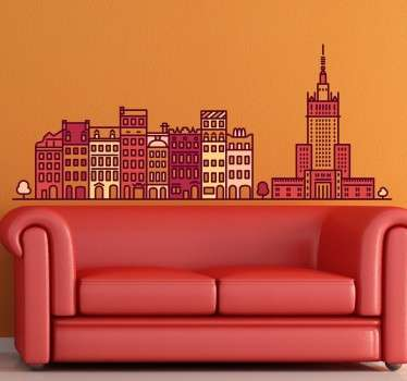 Location wall sticker of Warsaw buildings. This amazing decoration is available in any required customize size. It is self adhesive and easy to apply.