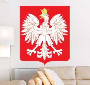 Coat of arms of Poland flag wall decal to decorate any space of choice. It is available in any required size and it is self adhesive.