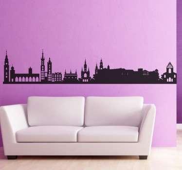 Vinilo decorativo silueta Krakovia Polonia