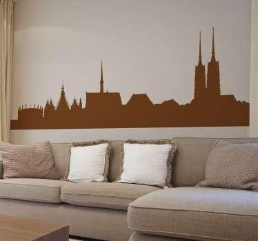 Dekoratives Wandtattoo Wroklaw. Dekorieren Sie Ihr Zuhause mit einem bunten Sticker der Skyline von der schönen, polnischen Stadt Wroklaw.