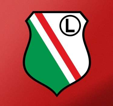 Naklejka na ścianę z herbem Legii Warszawa, który ma barwy czerwono-biało-zielono-czarne. Dla każdego fana tego klubu piłkarskiego.