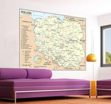 Fototapeta na ścianę w formie mapy Polski. Dla wszystkich fanów geografii oraz podróży  po Polsce.