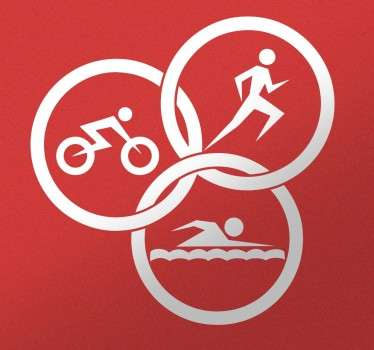 A creative design illustrating three sport icons. This triathlon sports sticker is ideal to decorate environments where sports are practiced.