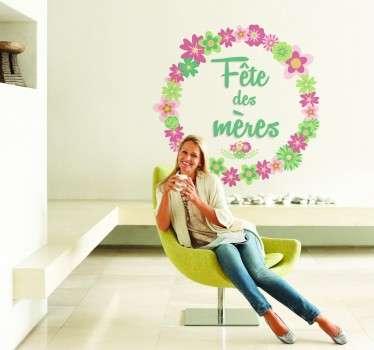 Sticker fête des mères couronne fleurs