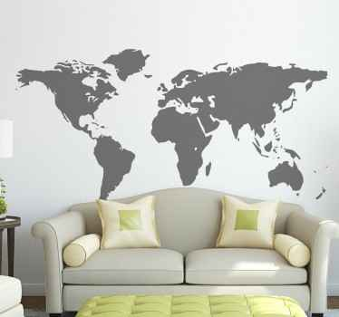 A superb design of the world map to decorate your living. This world map sticker is perfect for those that love to travel and visit new places!