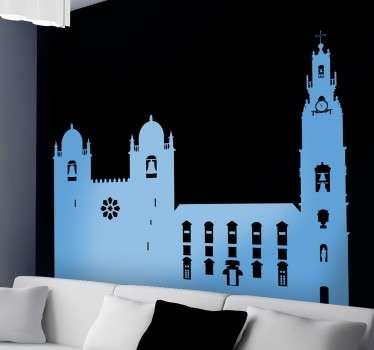 Dekoratives Wandtattoo, das die Kathedrale der portugiesischen Stadt Porto zeigt.