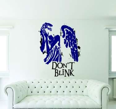 An image of a winged angel covering her eyes, with the words 'dont't blink written underneath.