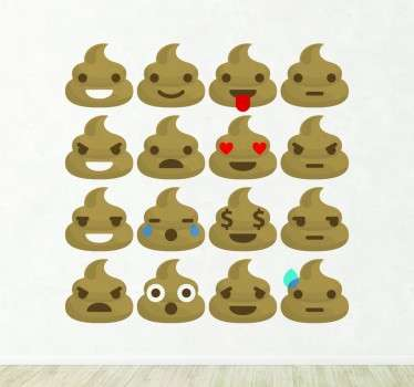 Customize the walls of your home with this fun decorative sticker consisting of dropping emojis showing different emotions and expressions.