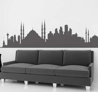 Een muursticker met de skyline van het Turkse wereldstad Istanbul! Je kunt deze sticker beplakken op de muur, op kasten, ramen etc!