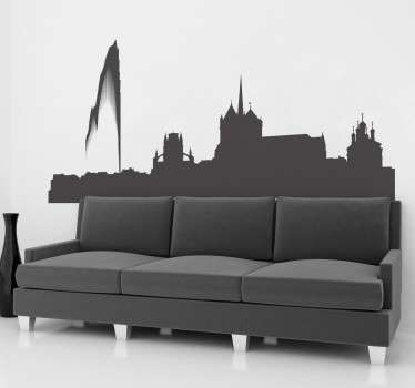 Decorative city skyline wall decal of  Geneva horizon to create an amazing view on any space. It is available in any size required .