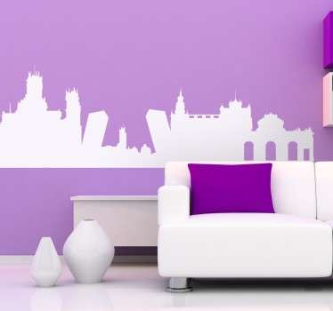 A decorative wall decoration illustrating the skyline of Spain's capital. An original skyline sticker of Madrid ideal for your home or office!