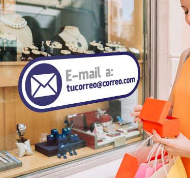 Etiqueta e-mail es el vinilo decorativo para tu negocio que permitirá a todos tus clientes saber cómo te pueden contactar.