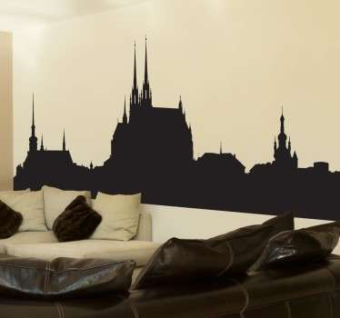Muursticker Skyline Brno
