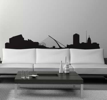 A spectacular design illustrating the skyline of Ireland's capital! This skyline sticker of Dublin is ideal to decorate big empty spaces at home!
