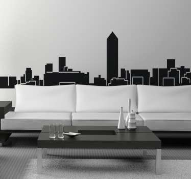 Autocolante decorativo com a skyline de Lyon. Vinil personalizado para a decoração da sala ou para a decoração do quarto