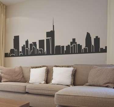 Adesivo decorativo che raffigura la skyline di una delle cittá piu' belle al mondo: Milano, la cittá della moda che si trova in Italia