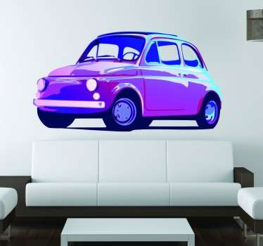 Amazing design of an old Fiat 500 in vivid neon colours to decorate the walls of your home.