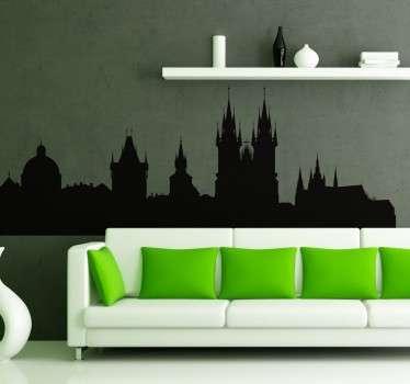 Prague Skyline Sticker