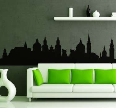 Skyline silhouette wall decal of skyline Salzburg. It is available in different colours and size option. Easy to apply and self adhesive.