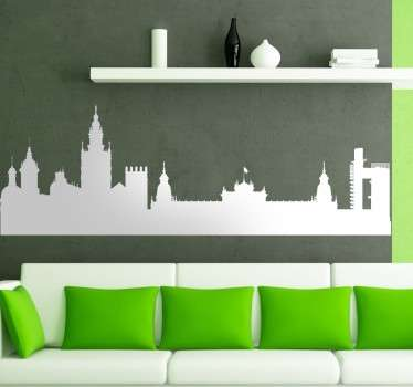Spanish city sticker with a representation of the skyline of the capital of Andalusia. Available in over 45 different colours.