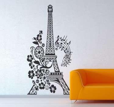 Naklejka wieża Eiffla, muzyka i kwiaty