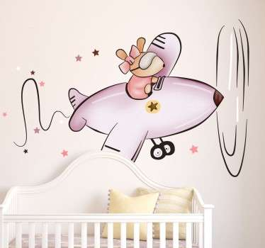 Kids Little Mouse in Plane Sticker