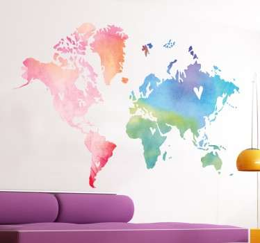 Världskarta vattenfärg vägg klistermärke
