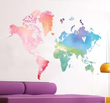 Autocolante decorativo mapa mundo colorido