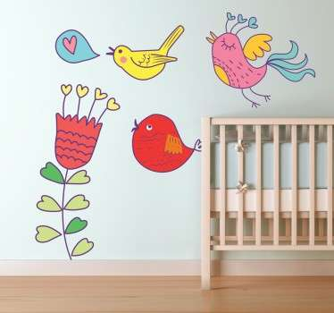 A colourful set of decals illustrating few birds and a flower. A new design from our collection of bird wall stickers.