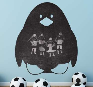 A fun and creative blackboard illustrating the outline of a penguin. Decorate your child's bedroom with this fantastic blackboard decal.